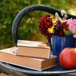 őszi kép virágok alma könyvek olvasás kert